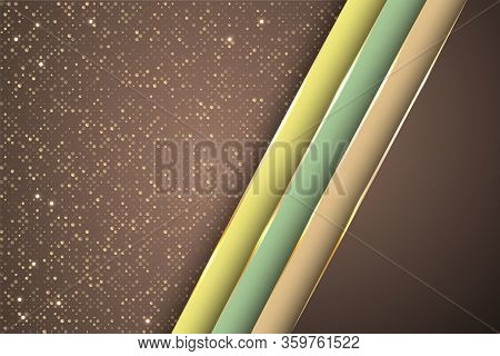 Gold Halftone Dots And Inclined Ribbon Stripes Banner Vector Design. Luxury Business Background Temp