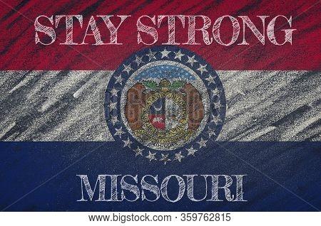 Covid-19 Warning. Quarantine Zone Covid 19 On Missouri ,flag Illustration. Coronavirus Danger Area,