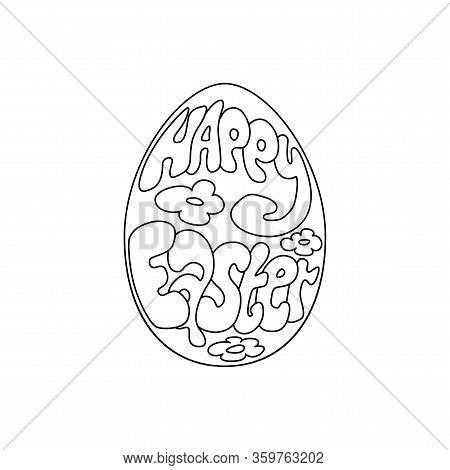 Happy Easter Text Lettering In Cartoon Paschal Egg On White Background. Vector Illustration Of Easte