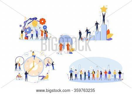Soft Skills, Business, Success, Communication, Win, Time Management Set. People Businessmen Women Wi