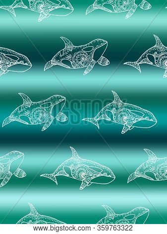 Vector Seamless Pattern Of White Killer Whale Swimming On Gradient Marine Background. Doodle Hand Dr