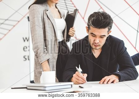 Asian Man Signing Contract, Hand Putting Signature On Official Document, Biracial Clients Customers