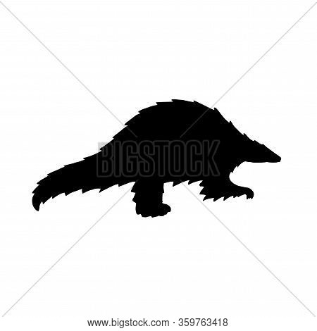 Vector Illustration Black Pangolin Silhouette. Endangered Species Of Animals, Potential Carrier Of T