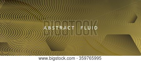 Abstract Vector Curve. Gold Futuristic Background. 3d Flow Shape. Business Pattern. Golden Abstract