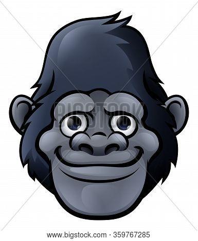 A Cute Friendly Cartoon Gorilla, Monkey, Ape Or Chimpanzee Character Face