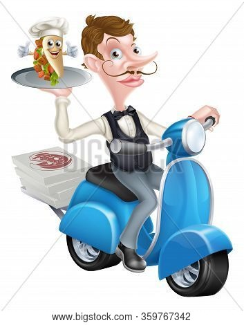 An Illustration Of A Cartoon Butler On Scooter Moped Delivering Souvlaki