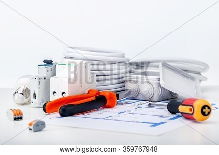 Electric Different Equipment, Wires And Tools On Electrical Diagram. Components For Electricity.