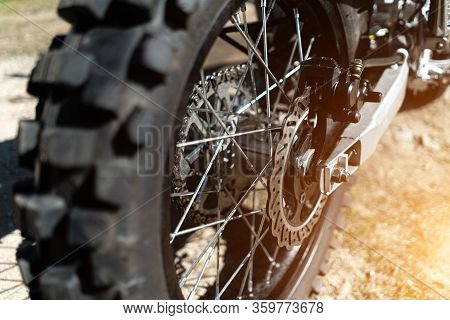 Rear Wheel Of An Enduro Motorcycle Close Up.