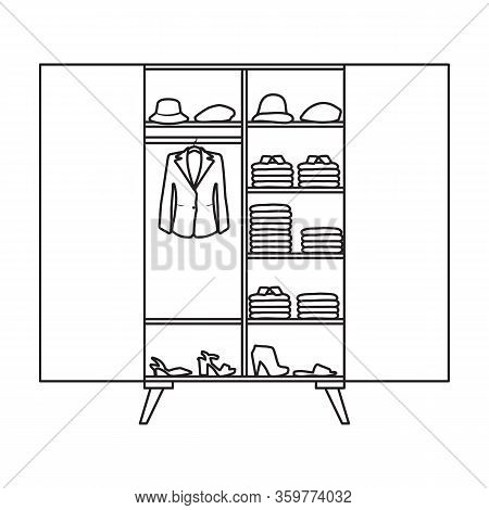 Closet Vector Icon.outline Vector Icon Isolated On White Background Closet .