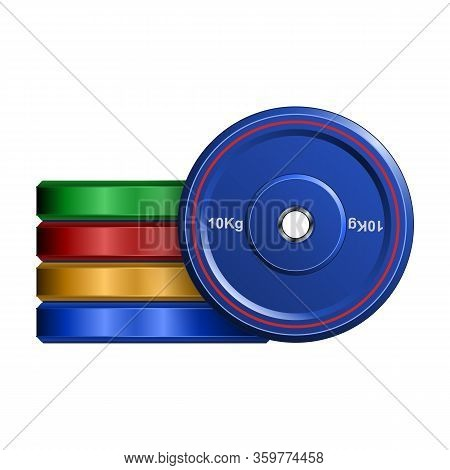 Barbell Disc Vector Icon. Realistic Vector Icon Isolated On White Background Barbell Disc.