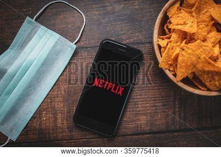 Antalya, Turkey - April 6, 2020. Smart Phone Showing Netflix App Logo.