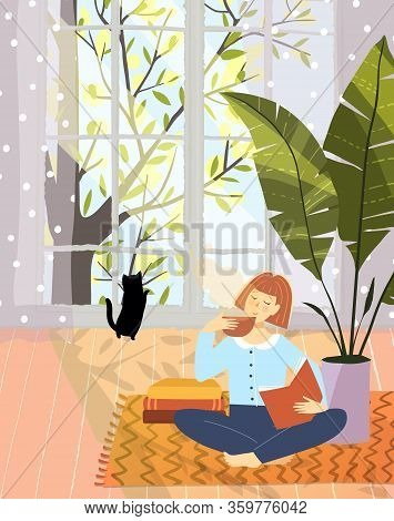 Woman Leisure Reading Book In Cozy Flat Apartement Interior Design With Big Nature Window. Vector Ca