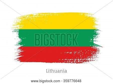 Lithuania Official Flag In Shape Of Paintbrush Stroke. Lithuanian National Identity Symbol. Grunge B