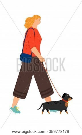 Dachshund Walking. Owner With Dog. Girl Go To Walk With Puppy. Happy Female Character And Pet Vector