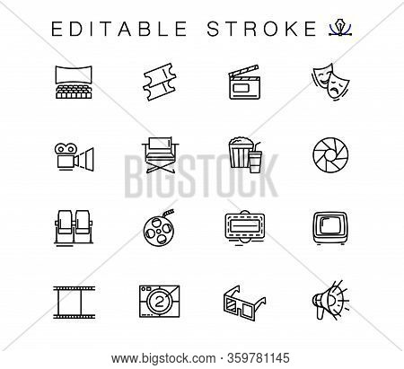 Filmmaking And Cinema Equipment Vector Linear Icons Set. Cinema Outline Symbols Pack. Collection Of