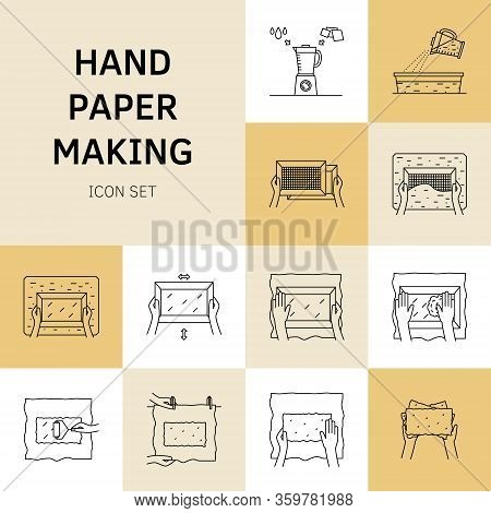 Vector Illustration. Thin Line Icons Of Hand Papermaking Process.