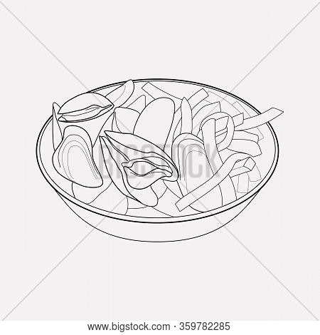Belgian Mussels Icon Line Element. Illustration Of Belgian Mussels Icon Line Isolated On Clean Backg