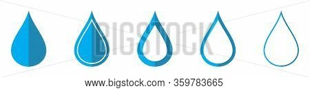 Drop Of Water Vector Icons. Set Of Drop Symbols On White Background. Vector Illustration. Various Bl