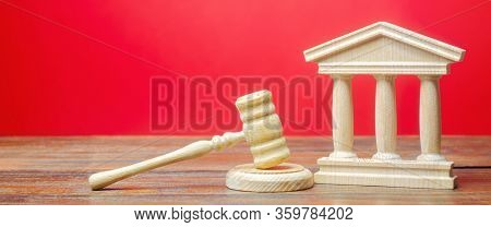 Courthouse And Gavel. International Court. Protection Of Business Interests And Human Rights. Intell
