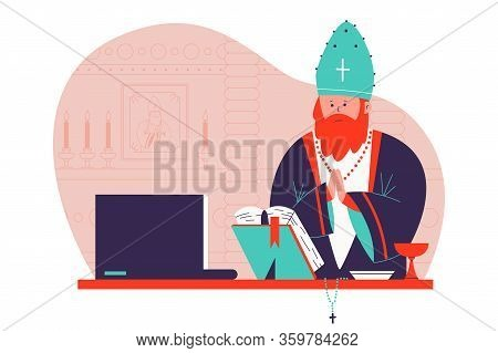Pastor Preaching In The Church Online Vector Cartoon Illustration.