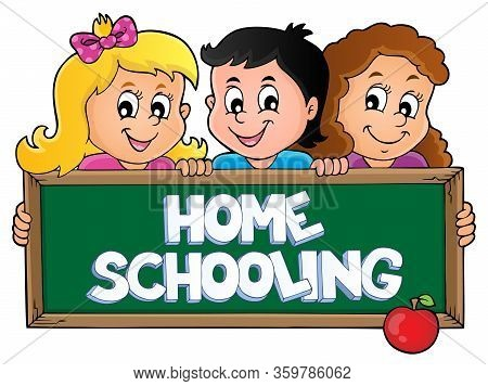 Home Schooling Theme Sign 5 - Eps10 Vector Picture Illustration.