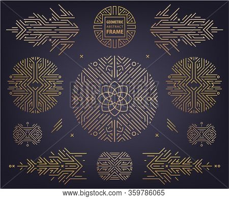 Vector Set Of Art Deco Linear Circles, Round Borders, Frames, Decorative Design Templates. Creative