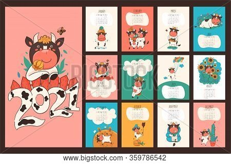 Calendar Or Planner 2021 Kawaii Cartoon Ox.vector Image.