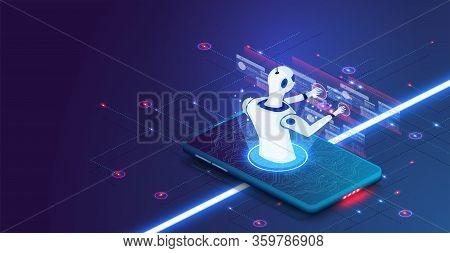 Isometric Artificial Intelligence. Internet Technology. Information Technology. Isometric Science Te