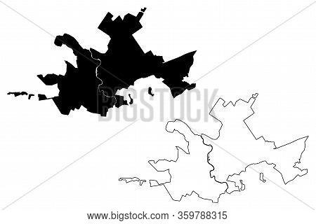 Stary Oskol City (russian Federation, Russia, Belgorod Oblast) Map Vector Illustration, Scribble Ske