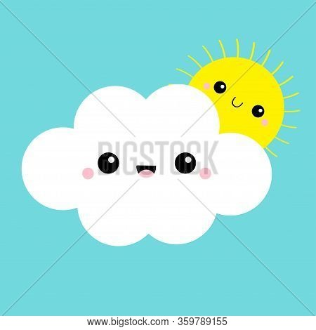 White Cloud And Yellow Sun Set. Smiling Face, Tongue. Love Friend Couple. Fluffy Clouds. Cute Cartoo