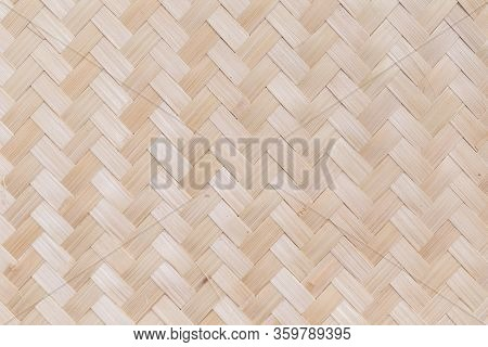 Bamboo Weave, Traditional Handcraft Weave Thai Style Pattern For Furniture Material.