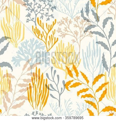 Coral Polyps Seamless Pattern. Kelp Laminaria Seaweed Algae Background. Aquarium Water Plants Summer
