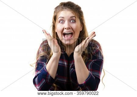 Amazed Astonished Young Woman Being Suprised Or Shocked By Something. Female Having Shock Face Expre