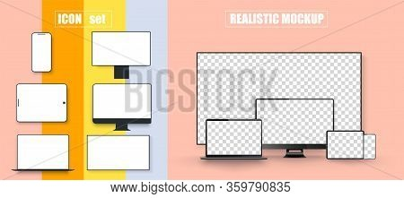 Computer, Laptop, Tablet, Smartphone And Tv Device With Blank White Screen. Mockup Generic Device. T