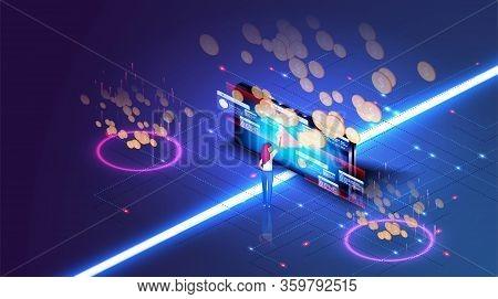 Media Marketing Concept. Monetization, Make Money Online Concept. Software, Profit Receiving, Succes