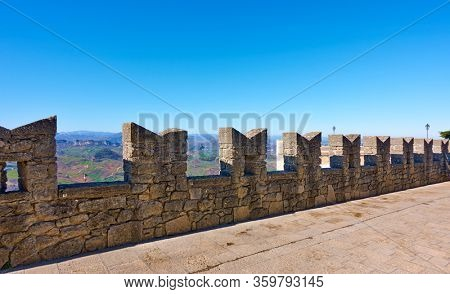 Ancient city wall  with merlons in San Marino