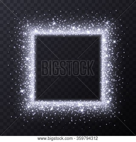 Silver Square Frame With Sparkles And Flares, Abstract Luminous Particles, White Stardust Light Effe