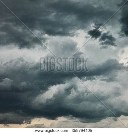 Dark sky with heavy stormy clouds - natural background
