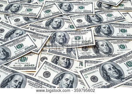 One Hundred Dollars. Lot Of Money Supply. Us Dollars Banknotes Background. Hundred Dollar Bills. Ame