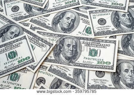 One Hundred Dollars. Top View A Bunch Of Money. Us Dollars Banknotes Background. Hundred Dollar Bill