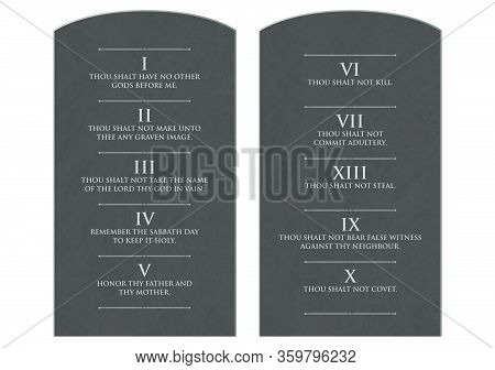 A Vector Illustration Of Two Stone Tablets With The Ten Commandments Etched On Them On An Isolated W