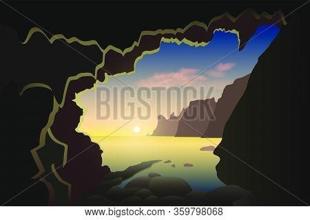 Beautiful Sunrise From The Mountain Cave In A Crimea Sea Bay. Vector Illustration.