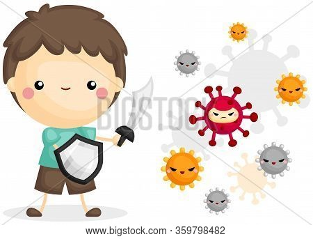 A Vector Of Cute Boy Fighting Viruses With His Sword And Shield