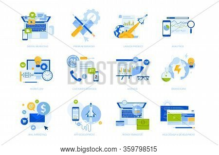 Flat Design Concept Icons Collection. Vector Illustrations For Business, Startup, Marketing, Web And
