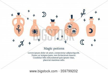 Set Of Mystical Poisons, Bottles. Halloween Print With Alchemy Symbols And Magical Elements In Pink