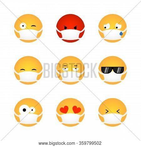 Set Of Kawaii Emoticon With Medical Mask Isolated On White Background. Corona Virus Protection Conce