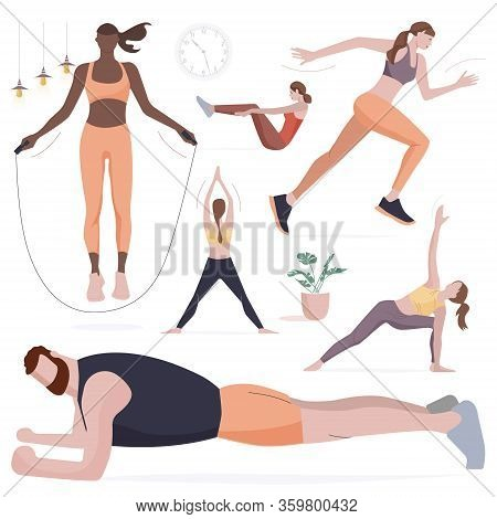 Woman Doing Fitness And Yoga Exercises With Ball. Sporty Man Doing Full-body Workout Alone In Living