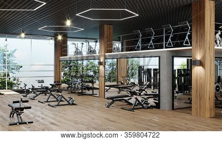 Modern Gym Interior With Sport And Fitness Equipment And Panoramic Windows, Fitness Center Inteior,