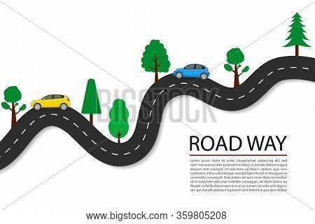 Vector Flat Road Path With Car, Trees For Journey. Asphalt Highway Line For Speed Transportation. Ve