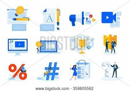 Flat Design Concept Icons Collection. Vector Illustrations Of Logo And Website Design, Internet Mark